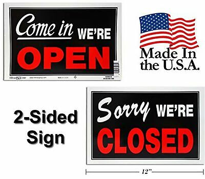 Open Closed Business Sign For Retail Store Heavy Plastic 2-pack Black Red...