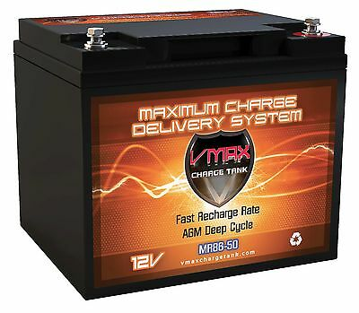 VMAX MR86-50 12 Volt 50AH AGM DEEP CYCLE MARINE AGM SLA DRY CELL BATTERY Marine Deep Cycle