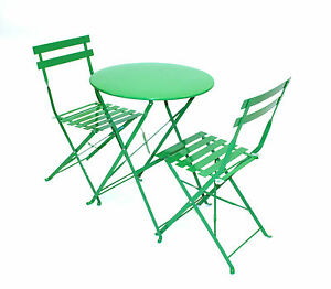 bistro set green balcony set metal folding table and 2 chairs ebay