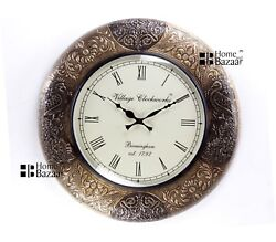 Vintage Home Decor Antique Look Brass Engraving Work Wall Clock Ethnic -167