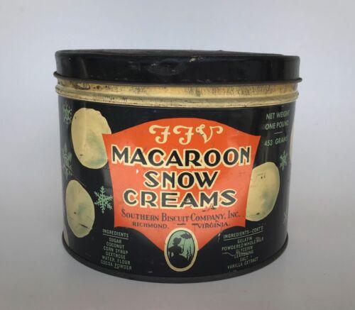 Vintage FFV Macaroon Snow CreamsAdvertising TIN Southern Biscuit Richmond VA