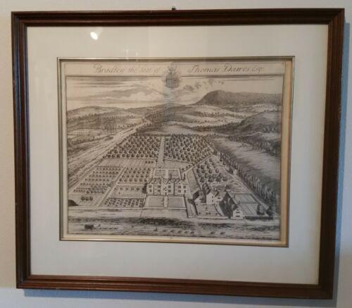 Antique Landscape Architecture Framed Engraving By Johannes Kip - Framed