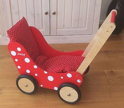 Puppenwagen aus Holz Laufwagen Lauflernwagen notalgisch rot Holzpuppenwagen neu