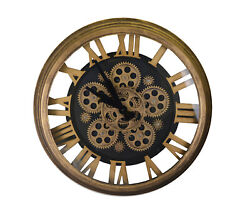 Steampunk Style Skeleton Wall Clock With All Moving Gears