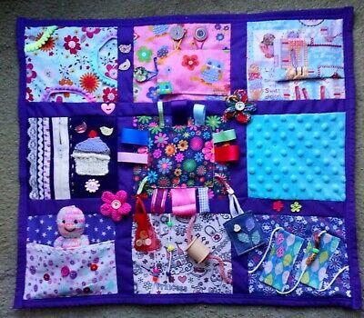 Fidget activity sensory blanket quilt Purple Pink Flower ADHD dementia stroke