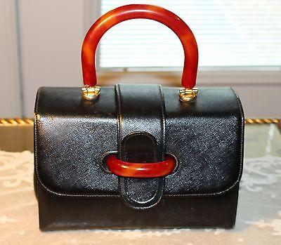 Vintage Black Box Purse w/ Bakelite Handles Handbag Bag Purse