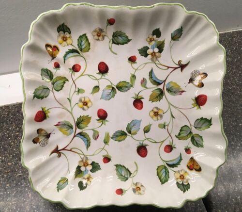 OLD FOLEY Strawberry James Kent made England flutted square dish serving bowl