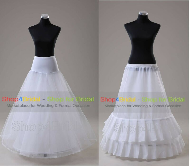 White A Line Hoops Wedding Dress Ball Gown Promo Crinoline Petticoat Slip Skirts