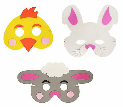 Kinder Ostern Schaum Maske 3 Designs Küken Kaninchen Lamm Kostüm Party Krippe