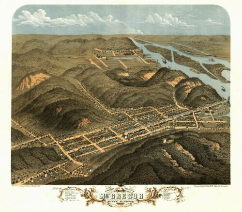 1869 MCGREGOR IOWA CLAYTON panoramic map GENEALOGY poster IA16