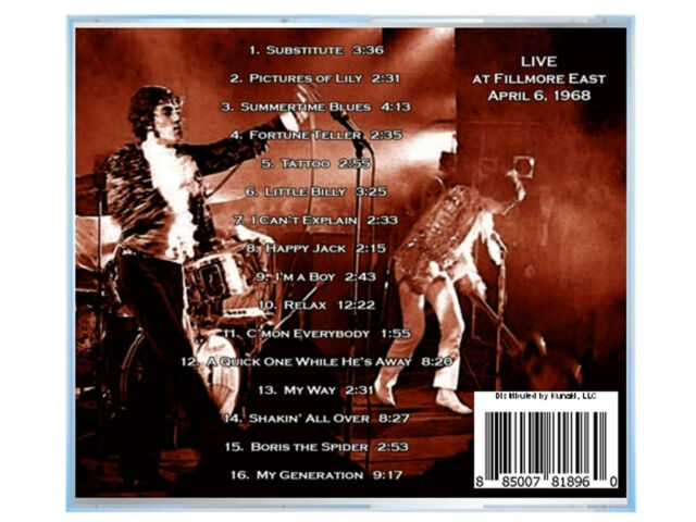 THE WHO, LIVE at the Fillmore East NYC 1968, on CD