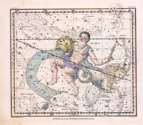 1822 ASTROLOGY ATLAS poster constellation Capricornus Aquarius water bearer 22