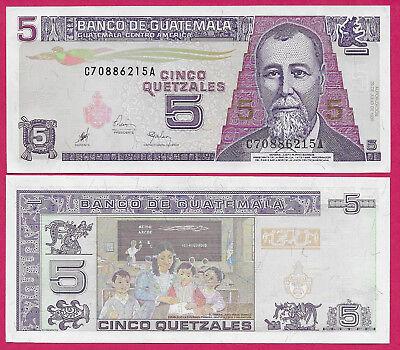 GUATEMALA REP 5 QUETZALES 1998 UNC J.R. BARRIOS,QUETZAL BIRD AT UPPER CENTER,CLA