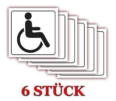 6 X Türaufkleber Behinderten WC Bad Toilette Rollstuhl Aufkleber 10 x 10 cm