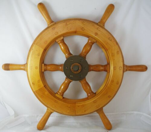 "Antique salvaged Helm Wheel  Ship wheel   24""  Teak Helms wheel"