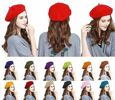 Classic Women's 100% Wool French Beret Tam Warm Beanie Artist Beret Winter Hat - French Artist Beret