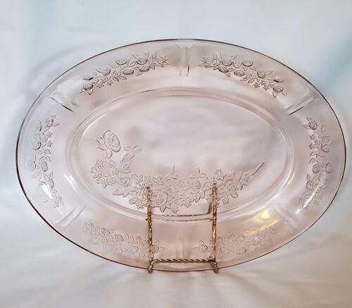 Vintage Depression Glass Sharon Cabbage Rose Federal Glass Serving Platter