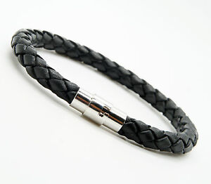 Men's Women's Leather And Stainless Steel Bracelet