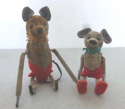 Rare Vintage Pre War Schuco Clockwork Turn Purzelbaume 'Miki' Mouse and Friend