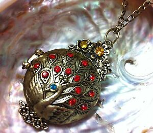 Opium Black Solid Perfume in Peacock Locket, Necklace, Pendant nouveau