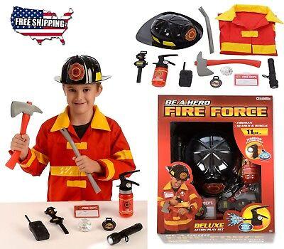 11 PCs Costume FIREFIGHTER Fireman Child Kids Suit Boys Helmet Toddler Pattern - Toddler Boy Costumes