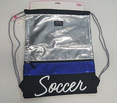 NWT Justice Kids Girls Sporty Blue Flip Sequin Soccer Drawstring Backpack Bag - Blue Sequin Backpack