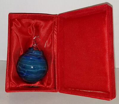 Vintage Blue Swirl Hand Blown Glass Christmas Ornament Collector (Hand Blown Swirl)