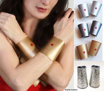 Wonder Woman wrist cuffs.4 styles.Handmade in USA. Pair Of bracelets. cartoon