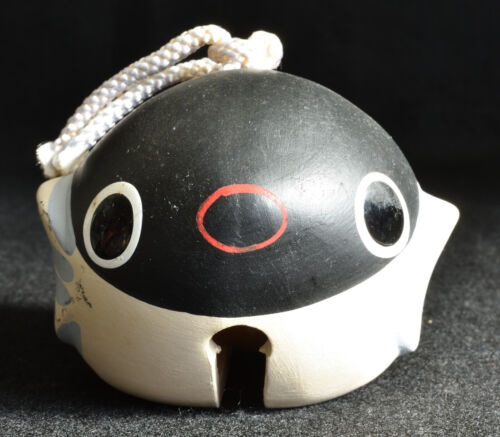 Japanese Old Clay Bell Dorei 1990 : design Puffer Fish