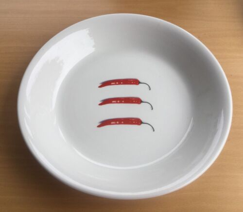 """Wood & Sons Fine Tableware England 12"""" Serving Bowl 3 Red Chili Peppers🌶🌶🌶"""