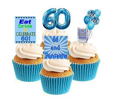Novelty 60th Birthday Blue Mix 12 Edible Stand Up wafer paper cake toppers party (60th Birthday Cake Toppers)