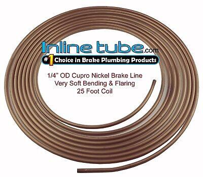 Copper Tubing Kit - Copper Nickel Brake Line Tubing Kit 1/4 OD 25 Foot Coil Roll USA INLINE TUBE CN4