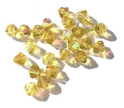 Czech Preciosa Crystal Bicone Honey Yellow w/ AB 24 Loose Beads