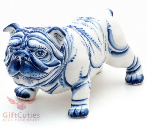 Gzhel Porcelain English bulldog dog Figurine handmade