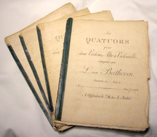 BETTHOVEN 18/19TH C. STRING QUARTET LOT OF 4 SHEET MUSIC SETS - RARE - B.OFFER!!