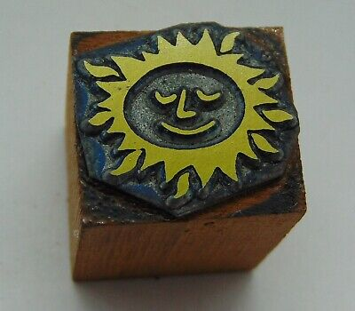 Printing Letterpress Printers Block Small Sun With Face