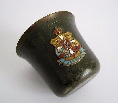 Alter Bronzebecher mit Wappen Dänemark emailliert um 1900