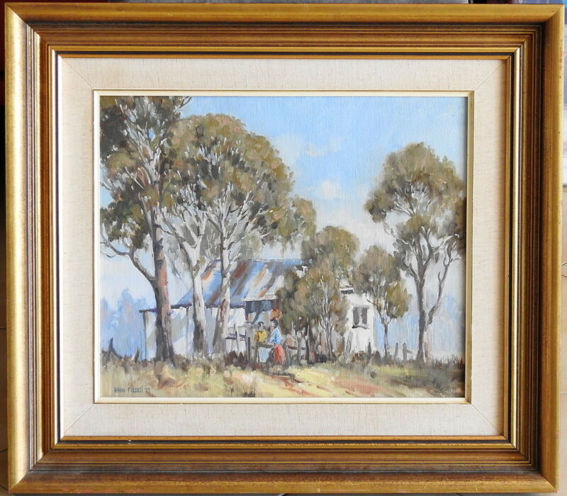Allan+Fizzell+%281944-%29+Original+Oil+Painting+Morning+Chat+Riverstone+Sydney+West