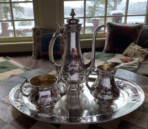 RARE GORGEOUS GORHAM STERLING SILVER ATHENIC HAND CHASED COFFEE SET ON TRAY 1906