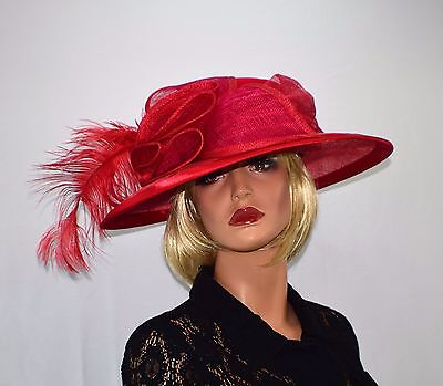 ELITE CHAMPAGNE Red Straw Wide Brim Fascinator Steam Punk Edwardian Style Hat -L