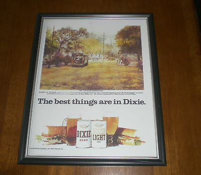 1976 DIXIE BEER FRAMED COLOR AD PRINT