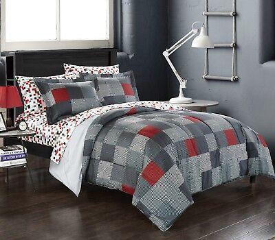 - Minecraft Bedding Comforter Set Bed in a Bag Geo Queen Reversible Gray Red Black