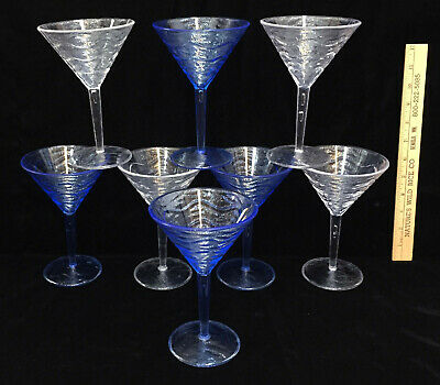 Martini Cocktail Glasses Blue & Clear Pedestal Margaritas Acrylic Plastic Set 8