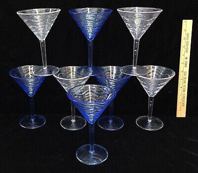 Margarita Plastic Glasses Bulk (Martini Cocktail Glasses Blue & Clear Pedestal Margaritas Acrylic Plastic Set)