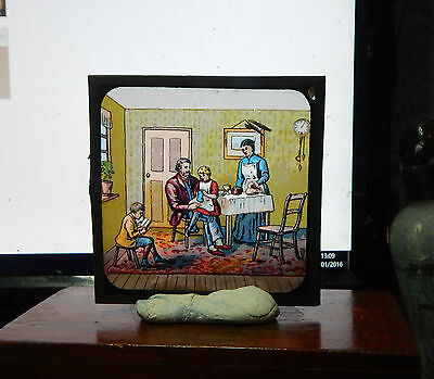 Victorian Glass magic lantern slide family scene colour image ci2