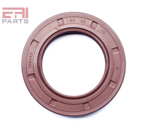 EAI Viton Oil Shaft Seal 50x80x10mm Grease Dbl Lip w/ Stainless Steel Spring