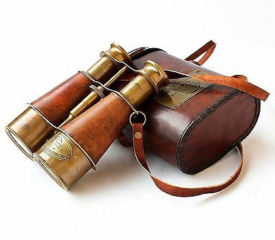 Maritime Victorian 1915 London Brass Leather Binocular Sailor Replica Case Ant