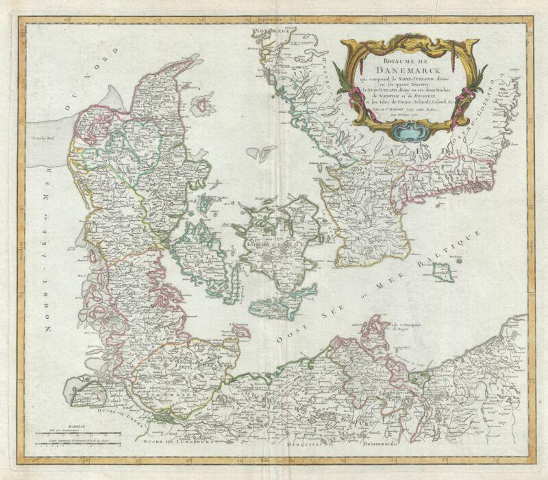 1750 Vaugondy Map of Denmark