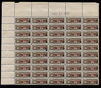1919 Columbia American Bank Note Co  50C Revenue Specimen Block Of 50 Mnh