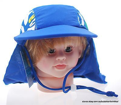 BLUE LYCRA BEACH SUN CAP/HAT Kids Boys NEW w/ Chin Strap 50,